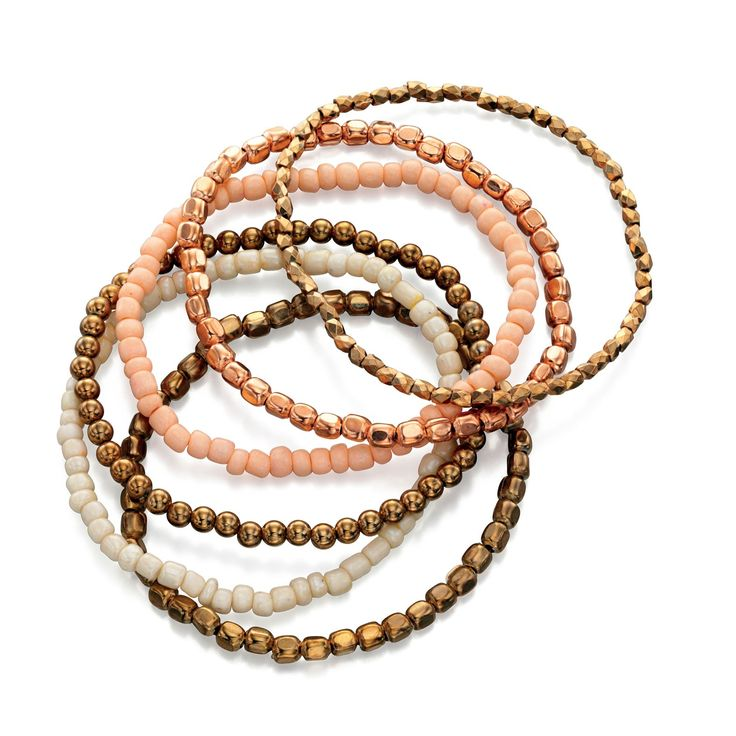 Fiorelli Costume Set of 6 Multi Colour Gold Stretch Bracelets - Make a statement with this designer bracelet by the renowned and high fashion Fiorelli brand, is beautifully produced with white or yellow alloy and seed beads: http://ow.ly/XA0LV