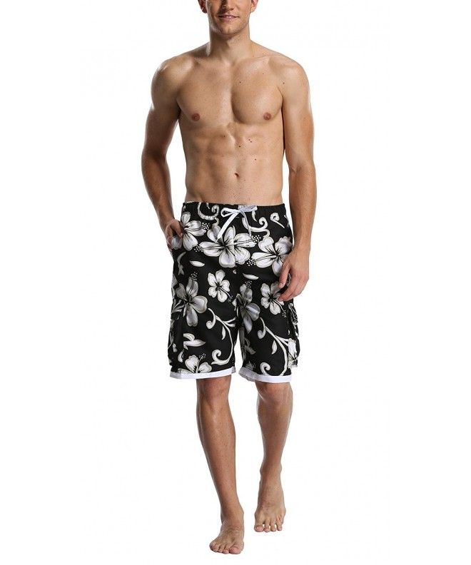 8fbd3d1a04 Men's Quick Dry Beach Board Shorts Printed Swim Trunks Floral Casual Swim  Shorts with Pockets - Black - CC184WKRIUH,Men's Clothing, Swim, Board Shorts  #Swim ...