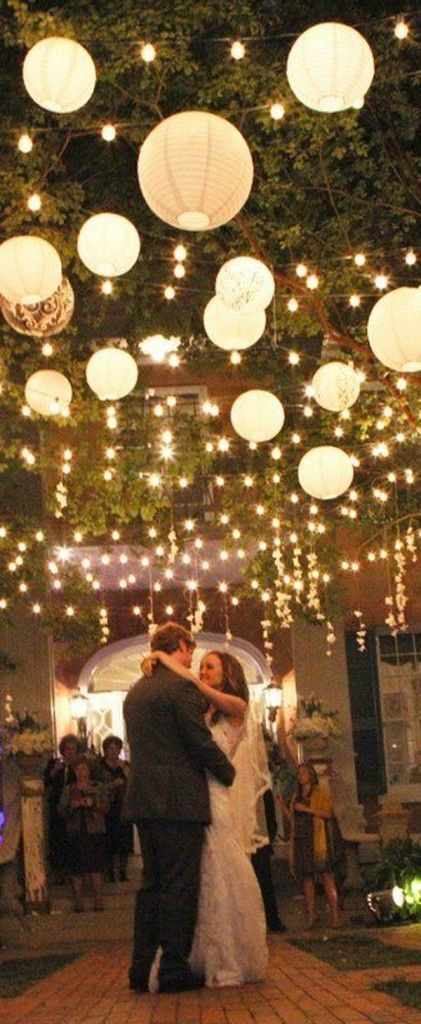 hanging paper lanterns and lights wow factor wedding decorations                                                                                                                                                                                 More