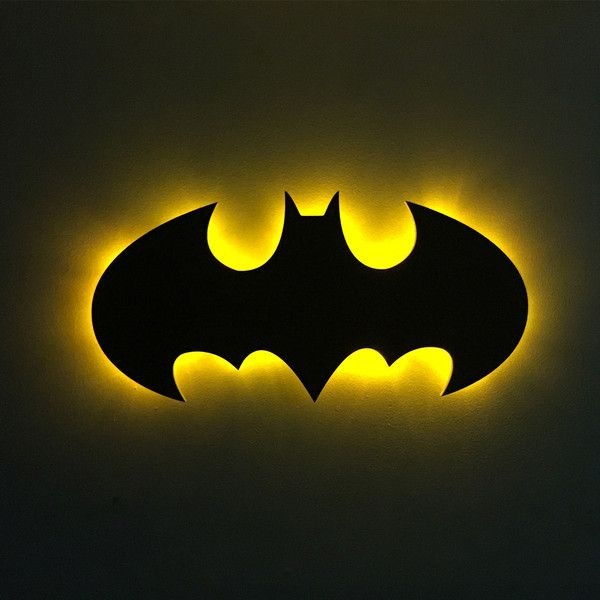 "Batman 1989 ""Michael Keaton"" Logo - Wood Cutout with LED Light Kits - Addicted Furnishings"