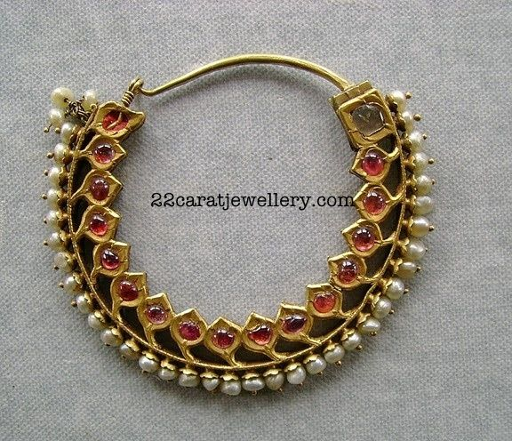 nath -Ruby Traditional with Pearls ~ JewelleryDesigns - more → http://fashiondesigningcatherine.blogspot.com/2012/10/nath-ruby-traditional-choker-necklace.html