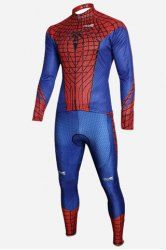 Close-Fitting Stand Collar Red Spider-Man Costume Long Sleeve Cycling Suit (Jacket+Pants) For Men (RED,S) | Sammydress.com Mobile