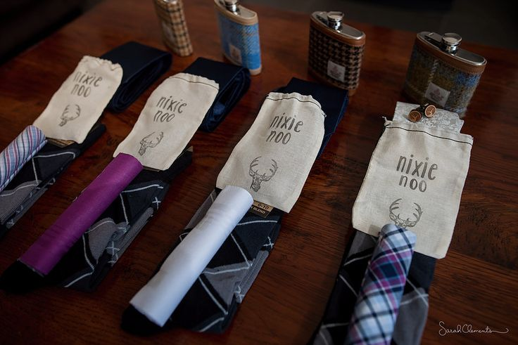 Groomsmen's presents at their best! Hip flasks and wedding socks!