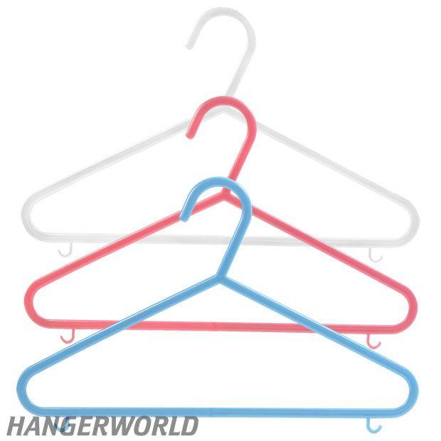 Children's Coloured Plastic Clothes Hangers With Bar - 30cm