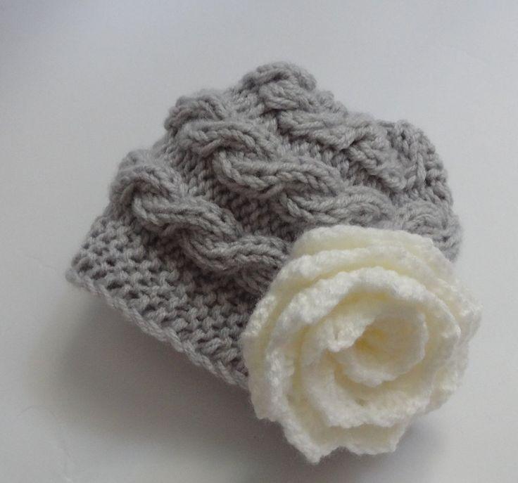 Kids Hat Baby Girl Hat Newborn Hat Photo Prop Baby Knit by Ifonka, $17.00