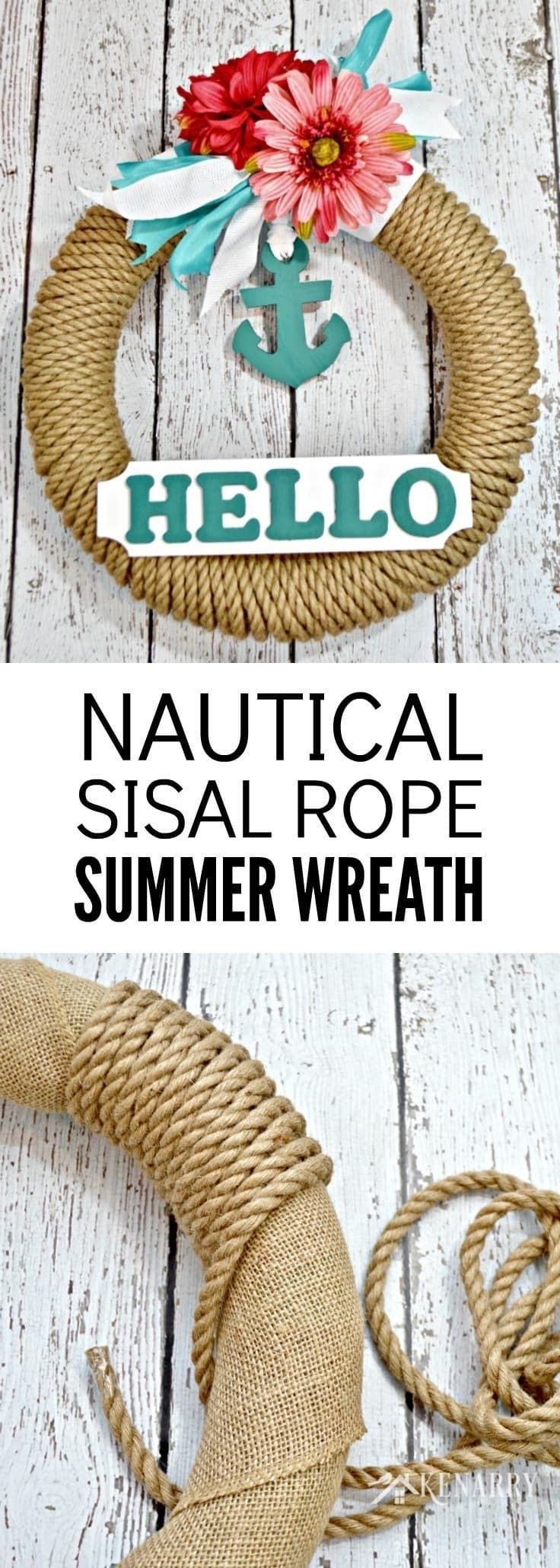 If you love to decorate your home or cottage with coastal decor, this Nautical Wreath using sisal rope and an anchor is an easy must-make craft idea for summer.
