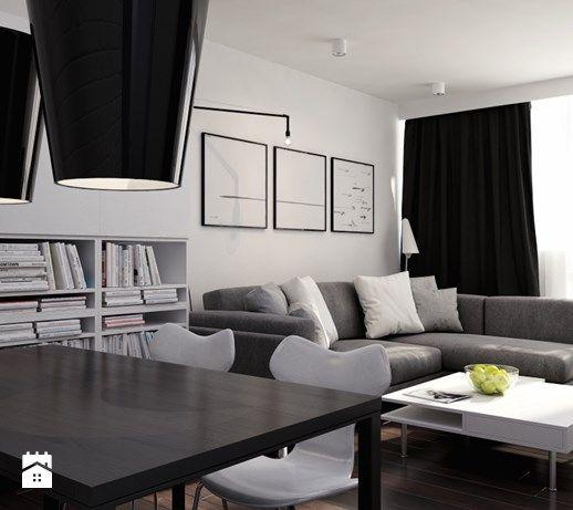 Czarno na białym - Średni salon z jadalnią, styl minimalistyczny - zdjęcie od kkarchitekci
