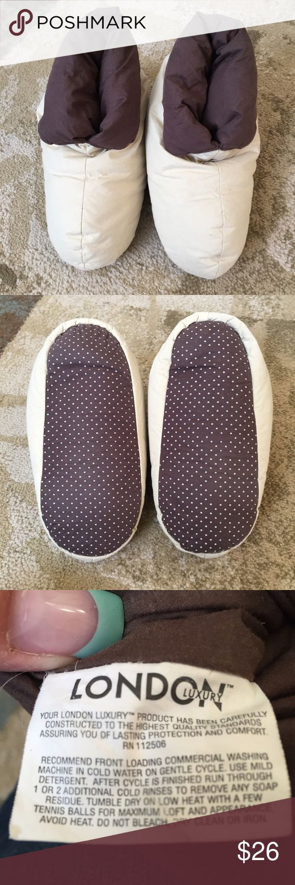 London Luxury down slippers Down slippers by London Luxury.  Cuff can be written up or down. No size noted on slippers, but fits 8/9. Only written a few times. Machine washable. London Luxury Shoes Slippers