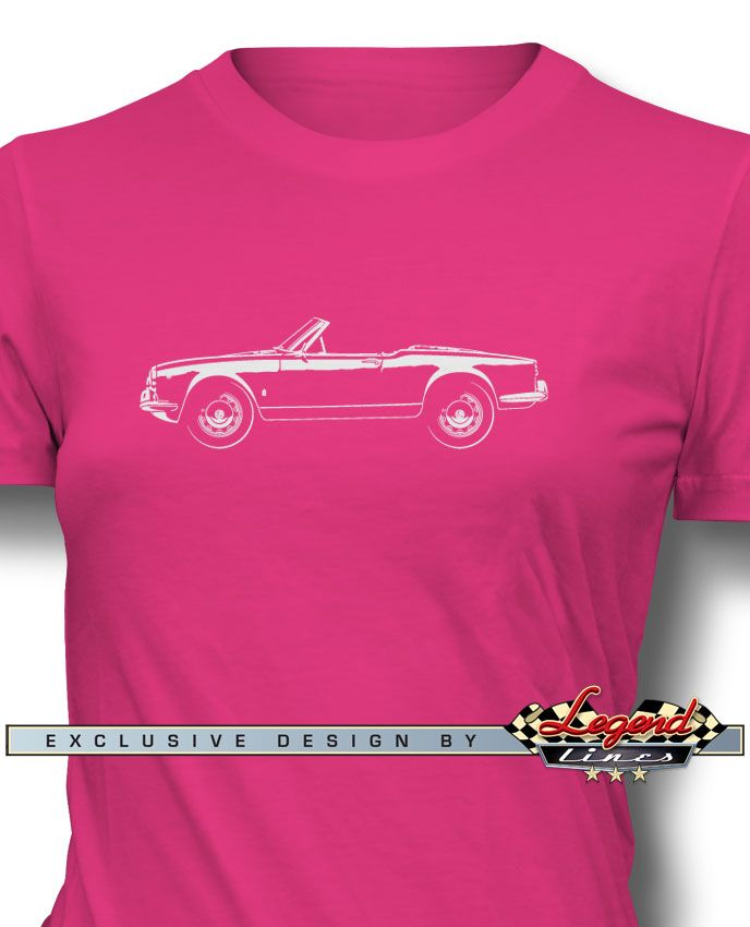 Alfa Romeo Giulietta Spider Veloce Convertible - Women T-Shirt Side View - A game of subtle lights and shadows reveal the magnificent curves of the body of the legendary Alfa Romeo Giulietta Spider Veloce Convertible. Detailed and harmonious, the artistic illustration has grabbed the essence of one of the most influential vehicle of the 20th century. Refine and stylish, it is a perfect wear for any occasion and to show your passion for a true Legend that lives forever!