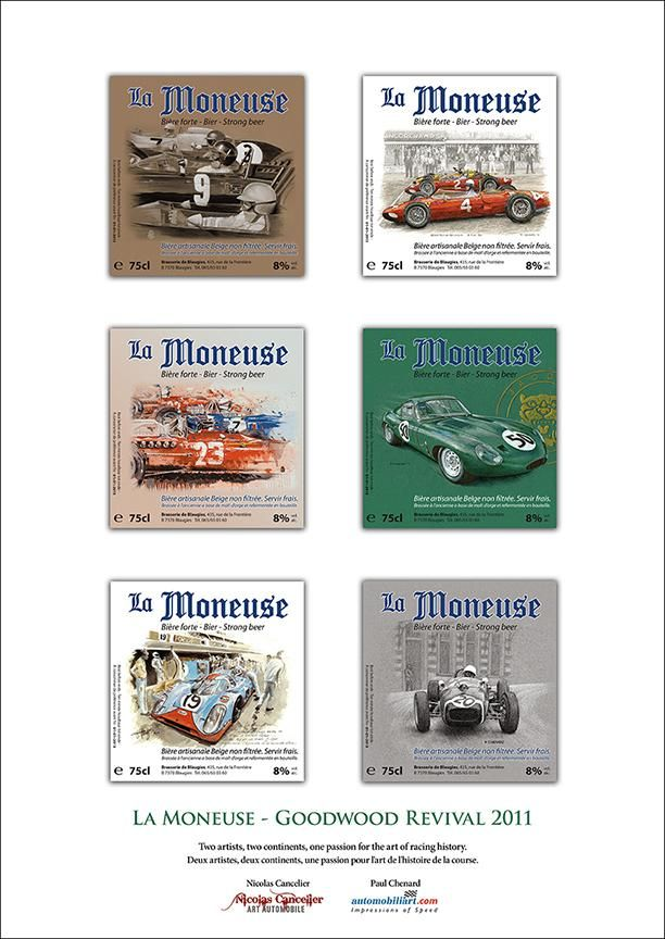 "Goodwood Revival 2011 ""La Moneuse"" beer labels poster 11.75""x 16.5"" $15 CDN each plus shipping/fees"