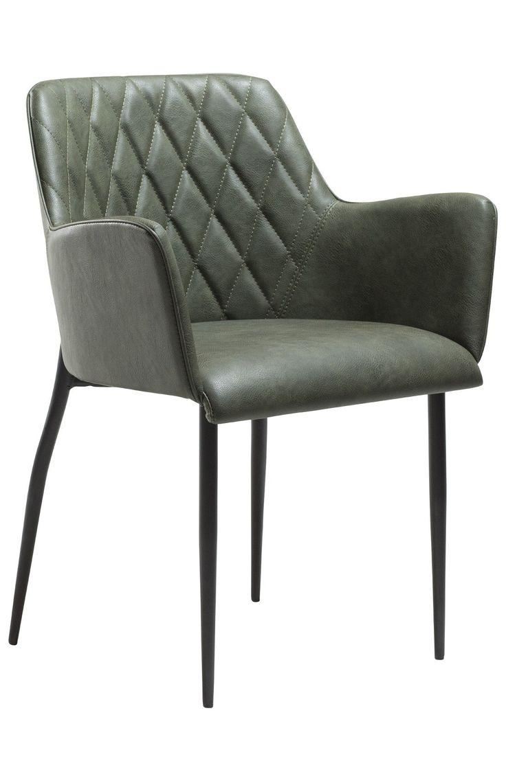 Rombo Spisebordsstol - Vintage grøn - En behagelig spisebordsstol i lækkert grønt vintage look. Spisebordsstolen er udstyret med armlæn samt et blødt sæde for ekstra komfort rundt om spisebordet. En stol, der egner sig godt til lange hyggeaftener om spisebordet.