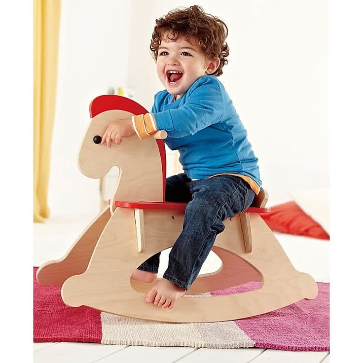 Hape's perfectly balanced wooden ride-on takes babies or tots for a gentle trot or rocking gallop. Manufactured by Hape. Recommended for birth to 12 months, 12 to 24 months.