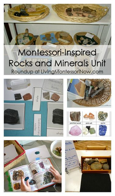 Roundup with LOTS of resources and activities for a Montessori-inspired rocks and minerals unit for preschoolers through elementary-age children