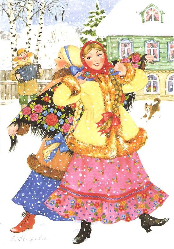 Новогодние открытки в русском народном стиле