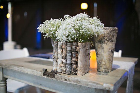 abedul natural corteza madera vases país boda jardinera, centros de mesa, carpintería, decoración rústica, shabby chic bodas, flores, decoraciones