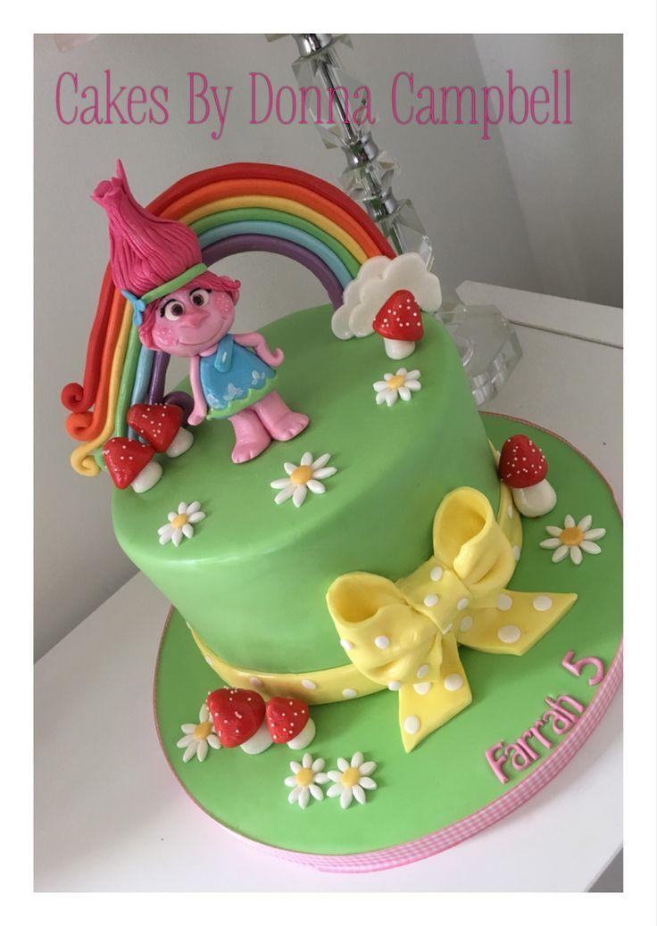 Poppy troll single tier cake