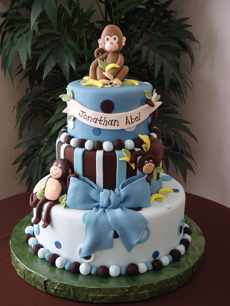 Monkey boy baby shower cake - I made this cake for my baby shower. Inspired by a cake I saw here in cake central but it was the monkey girl theme. I made the same cake but for a boy.