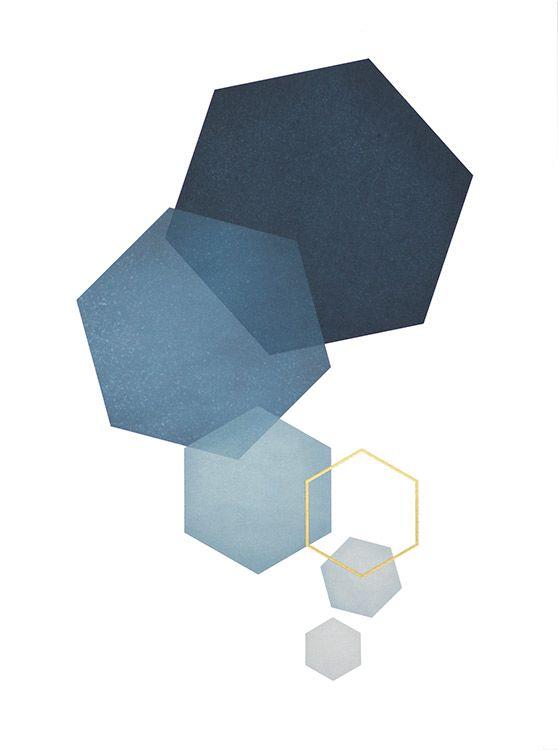 Blue hexagon, posters in de groep Posters / Goud en zilver bij Desenio AB (8528)