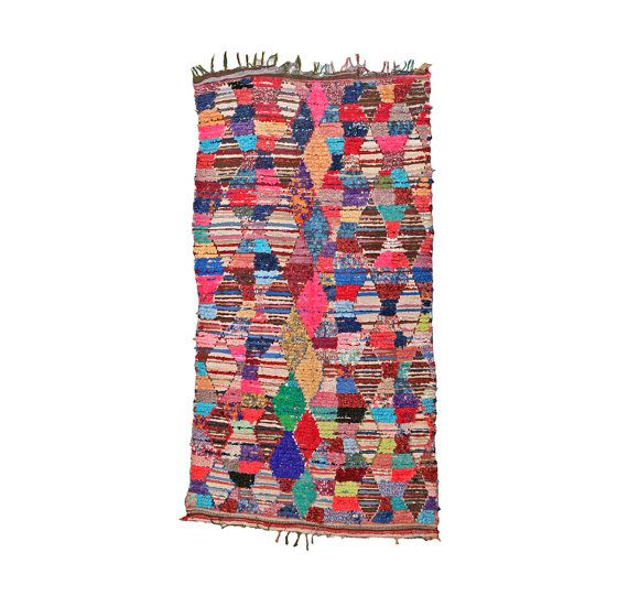 Moroccan BOUCHEROUITE Rug. Mid Century Modern Wall Art. Abstract Colorful Painting Rug. Bohemian 60s Quilt Kilim. Pink Red Harlequin Argyle. via Etsy