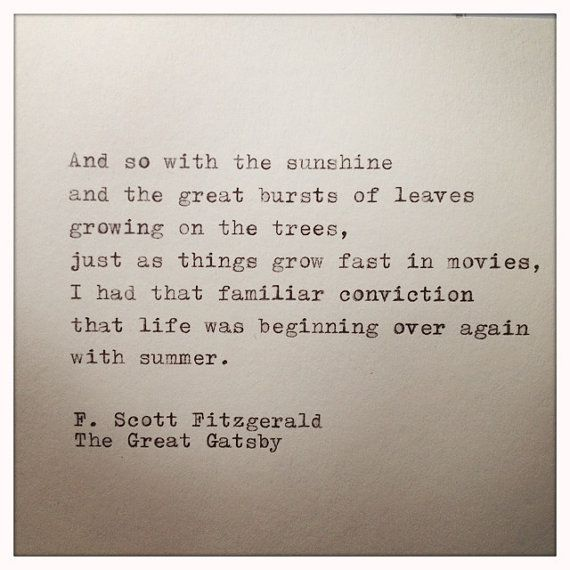 The Great Gatsby Quote Typed on Typewriter by farmnflea on Etsy