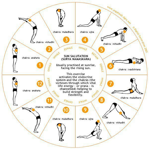 Sun Salutation with co-coordinating CHAKRA Meditation Stretches..
