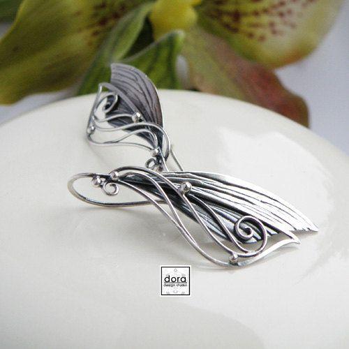 Fairy wings Silver Earrings wings Fairy Handmade by DORAbluedesign