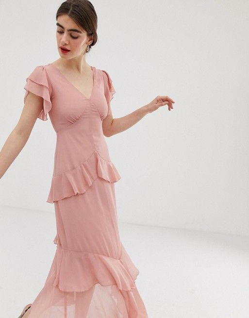 e0cd8d43301de Warehouse tiered maxi dress with ruffles in pink in 2019 | Threads ...
