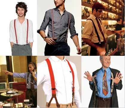 Suspenders were commonly worn to hold up their pants, since men didn't really start wearing belts until the end of this decade.  Well actually, they wore braces, not suspenders. Braces have button fasteners, while suspenders have metal clasps that attach to your pants.