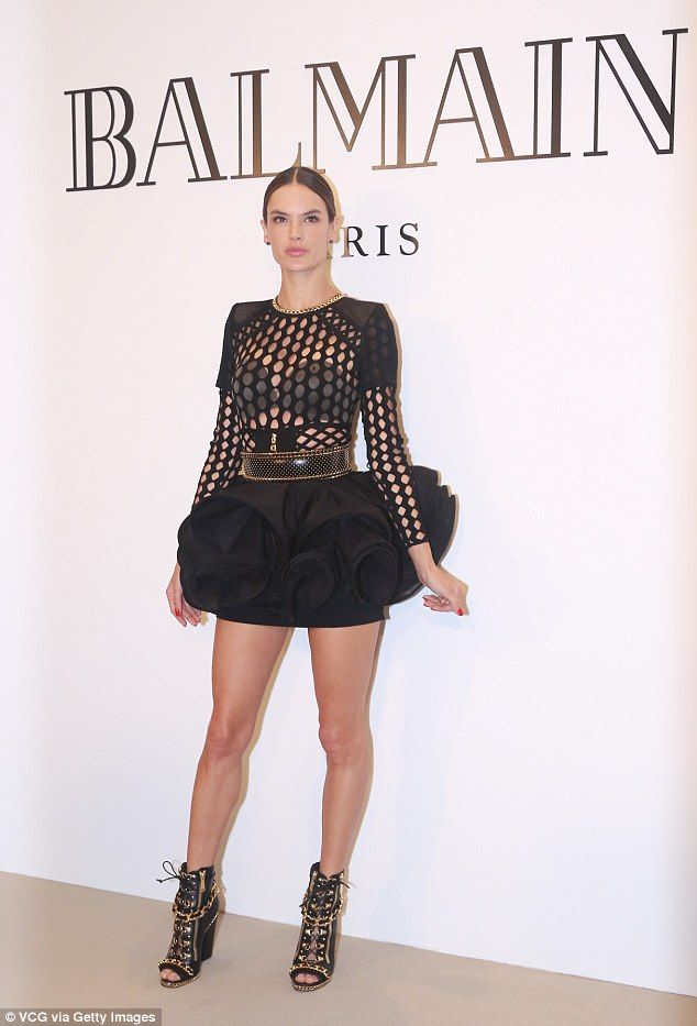 Incredible: Model Alessandra Ambrosio, 36, flashed her bra in a revealing all-black ensemble for a Balmain event in Shanghai on Tuesday