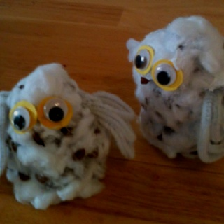 Snow Owl craft- made of pine cones and cotton balls. Idea from Big Backyard magazine.