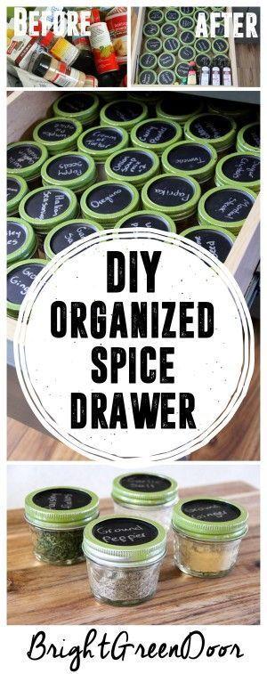 Simple Spice Organization, Organizing with Mason Jars, Spice Jar Organization. www.BrightGreenDoor.com
