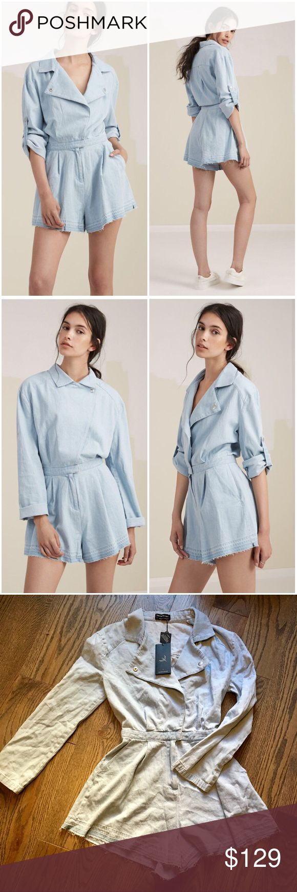 "The Fifth Label Denim Romper The Motel Playsuit from The Fifth Label. This super comfy and relaxed fit romper is perfect for lounging days! Pair it with minimal jewelry and sandals to complete the look! Hip pockets. Moto Collar can be worn open or closed. Frayed bottom hem. Rollable sleeves. Washed denim with silver hardware. Approx 12.5"" across waist, 13.5"" rise, 3"" inseam, 15.5"" shoulder to waist, 16.5"" across bust, 22"" sleeve length. First 2 pics are stock. NWT.  No trades. Reasonable…"