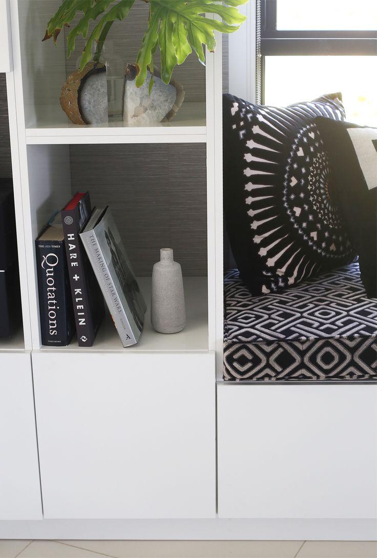 Custom Build Cabinetry by Kim Black Design Interior Design Brisbane Australia. Window seat with both hidden and open storage solutions.