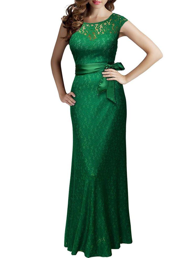 Lange Maxi Kleider Frauen Hochzeit Brautjungfer Formal Party Abendkleid Cocktail V Backless Lace Crochet Ballkleid   – Products