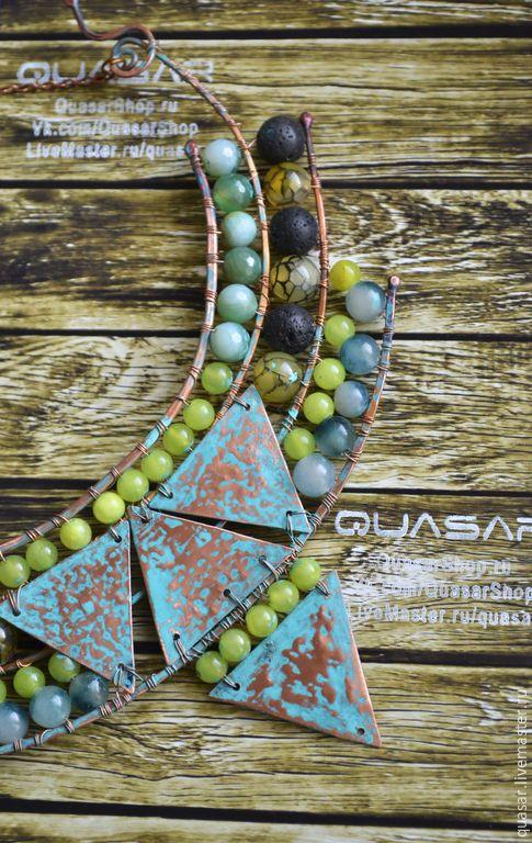 """Купить Ожерелье """"Воды Нила"""". - зеленый, медное ожерелье, Ожерелье из камней, ожерелье"""