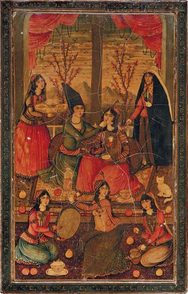 A QAJAR LACQUERED PAPIER-MÂCHÉ MIRROR CASE  IRAN, SECOND QUARTER 19TH CENTURY  THE COVER AND REVERSE DECORATED WITH A YOUNG COUPLE LEANING AGAINST A BOLSTER AND BEING ENTERTAINED BY MUSICIANS AND WAITED UPON BY SERVANTS, THE COVER'S REVERSE WITH A YOUNG INEBRIATED COUPLE AT NIGHT ENJOYING POMEGRANATES AND WINE, THE LADY RECLINING ON A CUSHION, A SERVANT IN THE BACKGROUND, THE BORDERS WITH GOLD PALMETTES ON BLACK GROUND  7½ X 11¾IN. (19 X 30CM.)