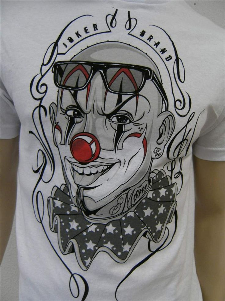 Joker clowns gangster joker brand t shirt men weiss clown gr m neu ebay lowrider chicano art - Joker brand wallpaper ...