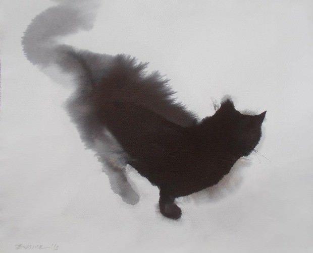 Endre Penovác - Waiting II  -- Zwarte kat van inkt en waterverf