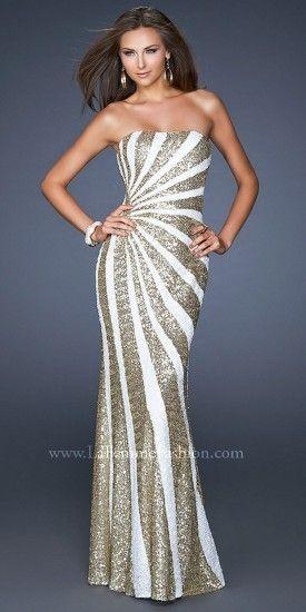 La Femme Radial Gold Sequin Stripe Prom Dresses #PromDress