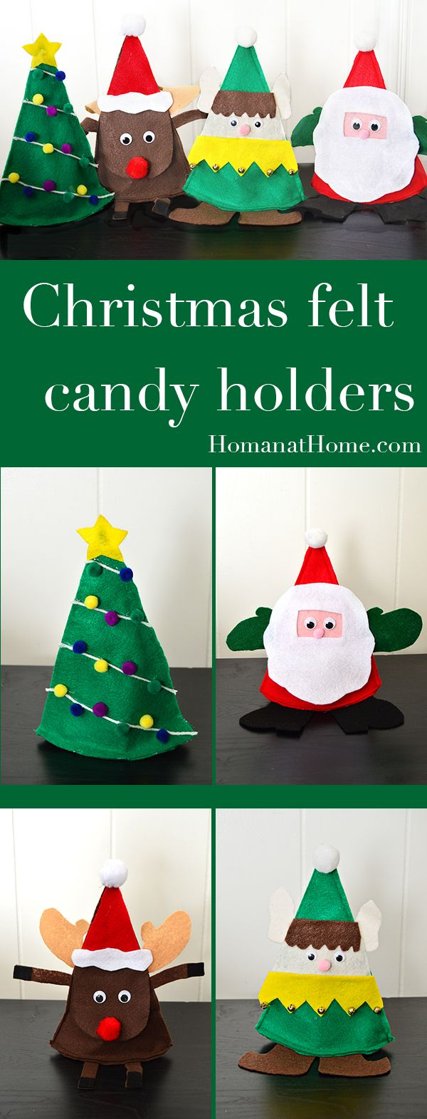 These Christmas felt candy holders make a super cute and very easy neighbor gift. Two methods and four designs mean you can really make this craft your own!