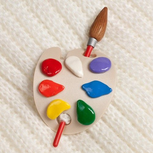 Painters Palette Shawl Scarf Pin Brooch cute as a brooch or as a pony tail cover/holder if you can remove the paint brush and slide it through hair, back into palette