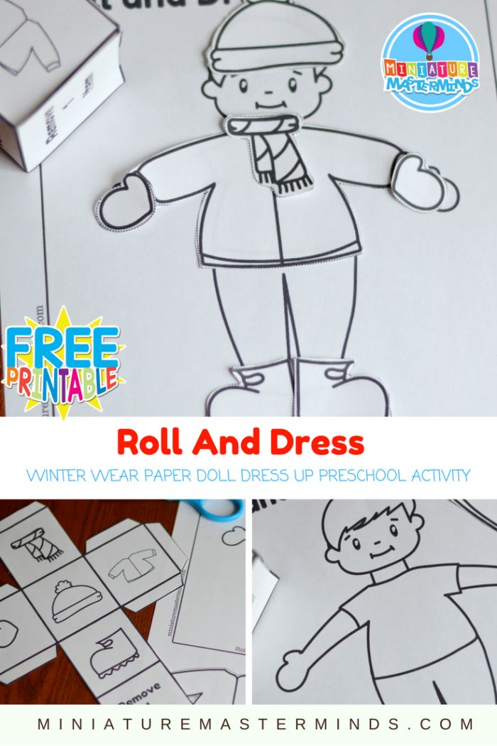Roll And Dress Winter Wear Preschool Roll The Dice Dress Up Paper Doll Coloring Page Activity – Miniature Masterminds
