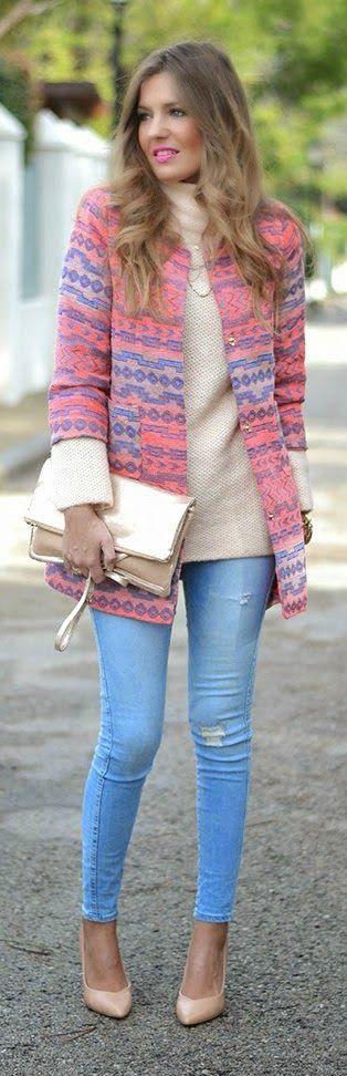 ETHNIC COAT - denim jeans with long sleeve sweater top ethnic coat and golden…