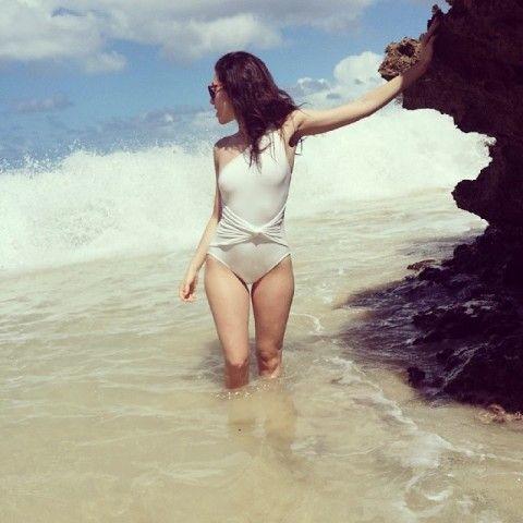 Michael Kors Twist Maillot Swim Suit | Spotted on @Emmy Rossum