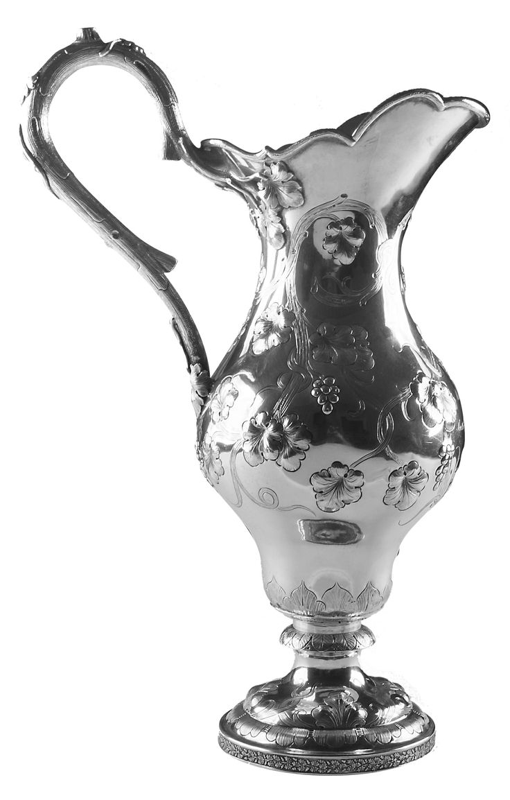 """Presentation Pitcher,Hudson & Dolfinger, coin silver, repoussé grape cluster and vine decoration, 1855-1858,  engraved """"Mrs. Tho Y Brent from the South Western Agricultural and Mechanical Association,"""" Louisville."""