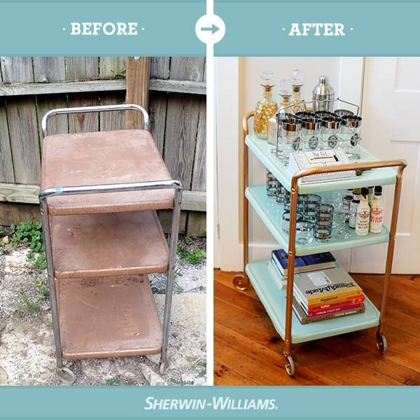 An old, dirty cart gets a brand new look with a coat of Emerald Interior Paint in Aloe (SW 6464) and Krylon Spray Paint in Gold.