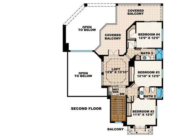 Beautiful Tuscan Appeal - 66211WE   1st Floor Master Suite, CAD Available, Florida, Jack & Jill Bath, Loft, Mediterranean, PDF, Tuscan   Architectural Designs