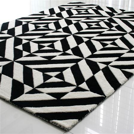 Alfombra 170 x 240 cm Espejo de Linie Design, negro y blanco