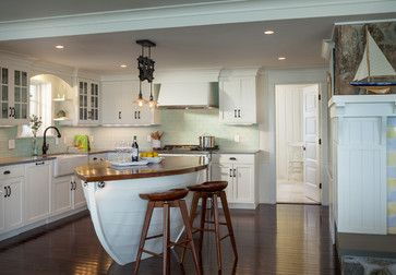 Nautical Style Kitchen with Boat Island- The Simple Life Decorthesimplelifedecor.com.