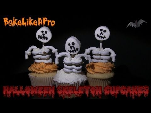 Halloween skeleton cupcakes ! - You're in for a fun video lesson !  I'll take pretzels, a cupcake, Wilton buttercream icing, a marshmallow, a pop stick, and turn it all into a really fun Halloween skeleton cupcake !  Step by step detailed video instruction as always, so let's get started !